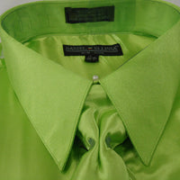Mens Daniel Ellissa Lime Green Classic Fit Satin Formal Dress Shirt Tie & Hanky - Nader Fashion Las Vegas