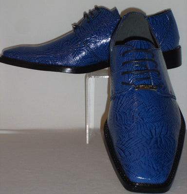 Mens Bright Shiny Navy Blue Super Gator Textured Dress Shoes Bolano Calan-002 - Nader Fashion Las Vegas