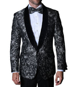 Mens Black Silver Velvet Shawl Collar Formal Dress Jacket Bowtie Statement VJ110 S