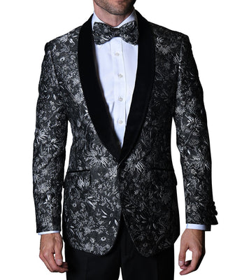 Mens Black Silver Velvet Shawl Collar Formal Dress Jacket Bowtie Statement VJ110