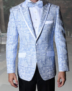 Mens Unique Sky Blue Peak Lapel Tuxedo Blazer Jacket + Bow Tie Statement VJ112 S