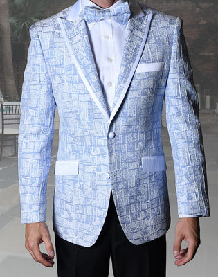 Mens Unique Sky Blue Peak Lapel Tuxedo Blazer Jacket + Bow Tie Statement VJ112
