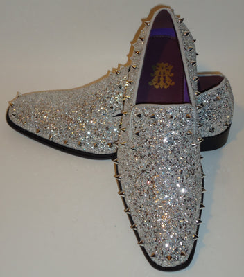Mens Silver Glitter Stud Formal Slip On Dress Loafers After Midnight 6769