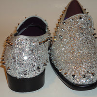 Mens Silver Glitter Stud Formal Slip On Dress Loafers After Midnight 6769 S