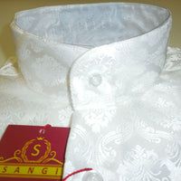 Mens White Damask High Nehru Collar Collarless Shirt SANGI Style 1004