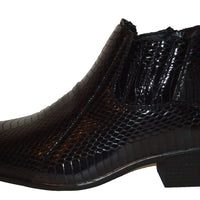 Mens Stylish Black Faux Snake Cuban Heel Boots Antonio Cerrelli 5159 S
