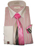 Mens Business Executive White Pink Stripe Cuffed Dress Shirt Karl Knox 4358 S