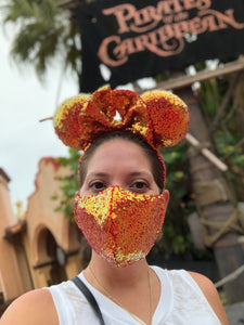 Fire Red Sequin Mask & Ears