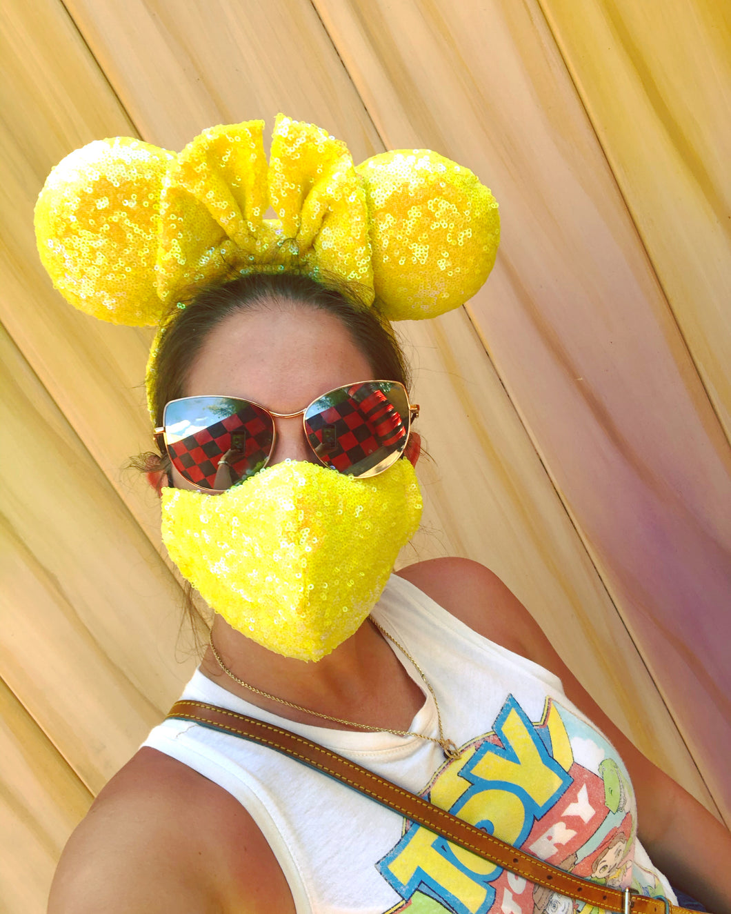 Irrediscent Yellow Red Sequin Mask & Ears