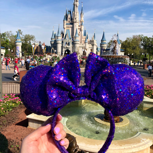 Sparkly Purple holographic Minnie Ears