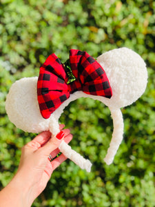 Sherpa Buffalo Plaid Christmas Minnie Ears