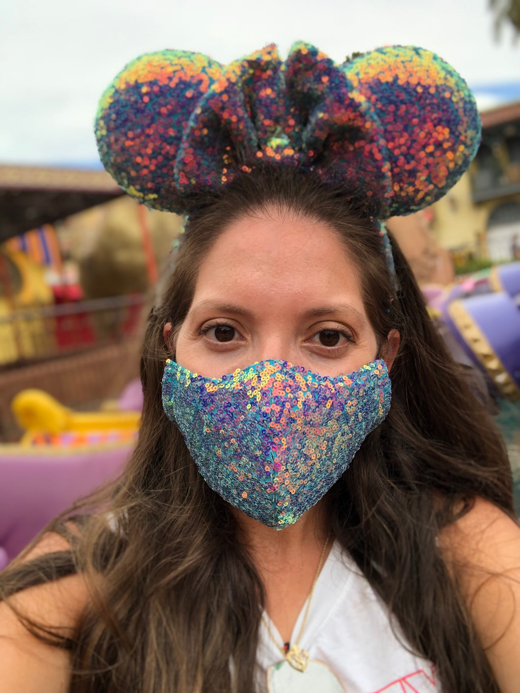 Turquoise Irrediscent Sequin Mask & Ears
