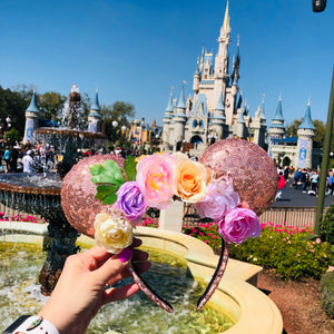 Rose Gold Flower and Garden Minnie ears