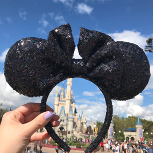 Holographic Black Sparkly Minnie Ears