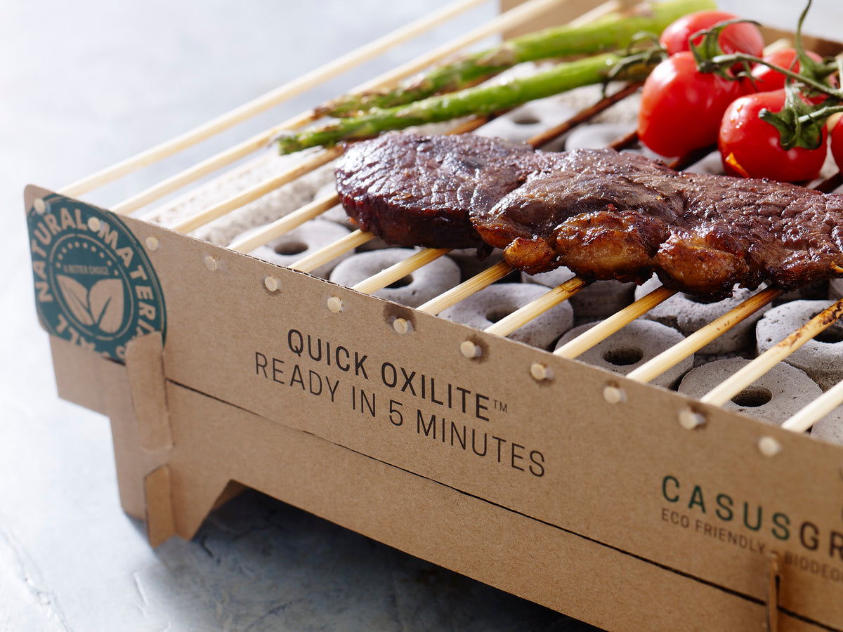 Biodegradable bbq with steak and grilled veggies