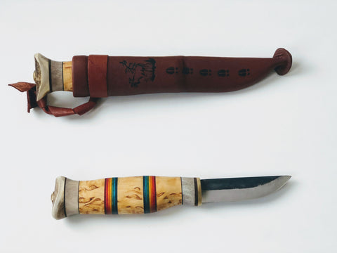 77mm Handmade Scandinavian Bushcraft Knife - Rainbow