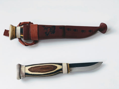 77mm Handmade Scandinavian Bushcraft Knife - Zebra
