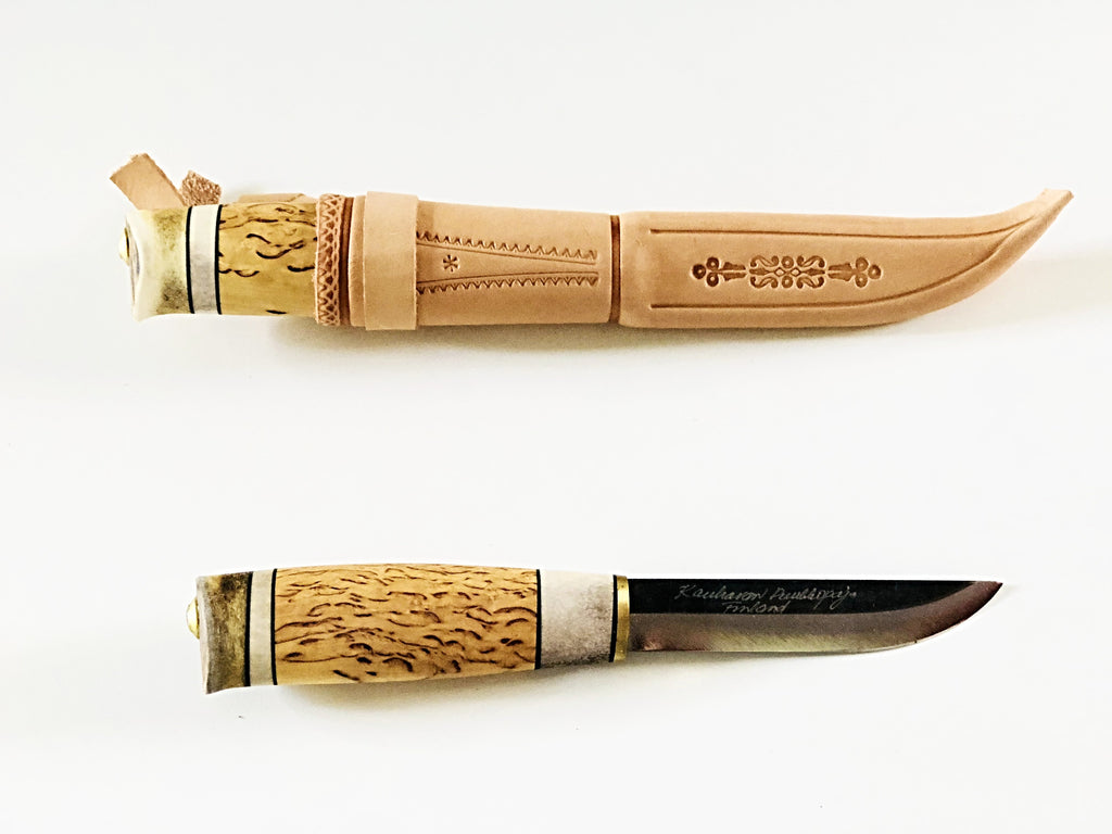 105mm Traditional Puukko Knife Reindeer Bone Handle