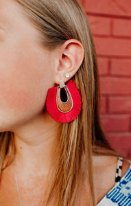 Firecracker Red Tassel Earrings