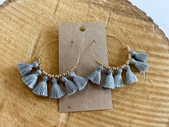 Tassel Gray Droplet Earrings