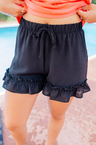Ruffled Black Short