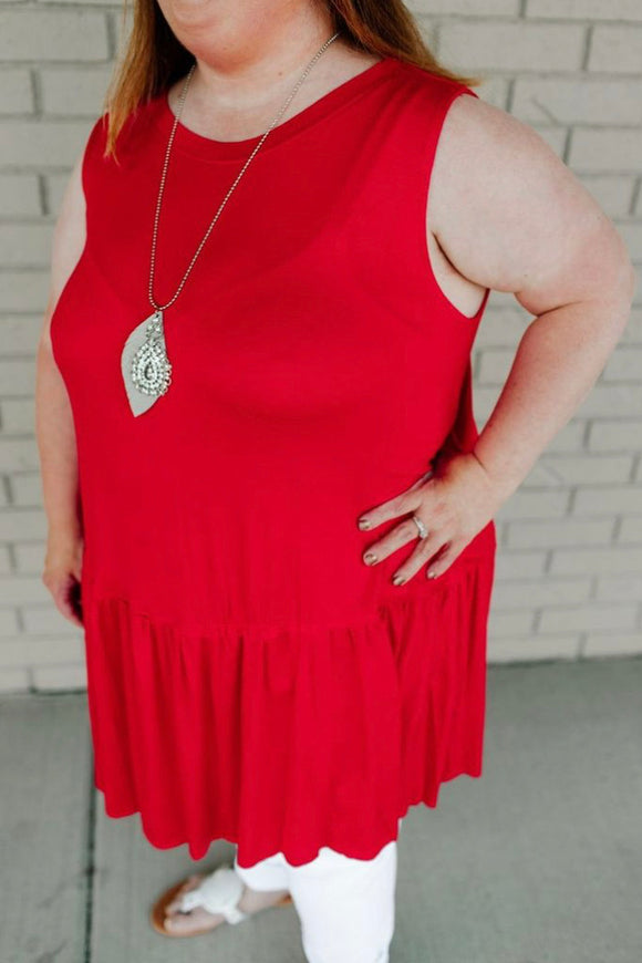 Seeing Sparkled Ruffled Tank - S-3XL