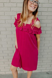 Shored Cold Shoulder Dress - Berry