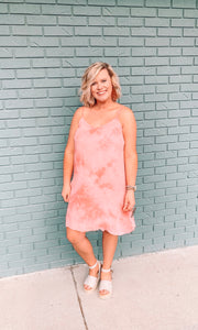 Cindy Coral Tie Dye Dress