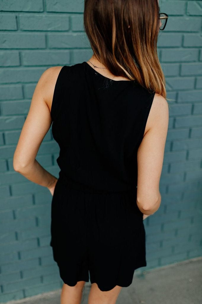 Zipper It Black Romper