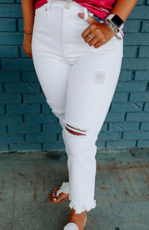 YMI Frayed White Ankle Jean