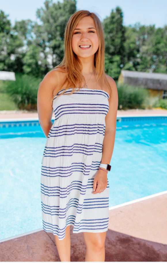 Nautical Navy Striped Cover Up