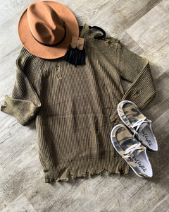 Cut It Out Distressed Sweater - Olive