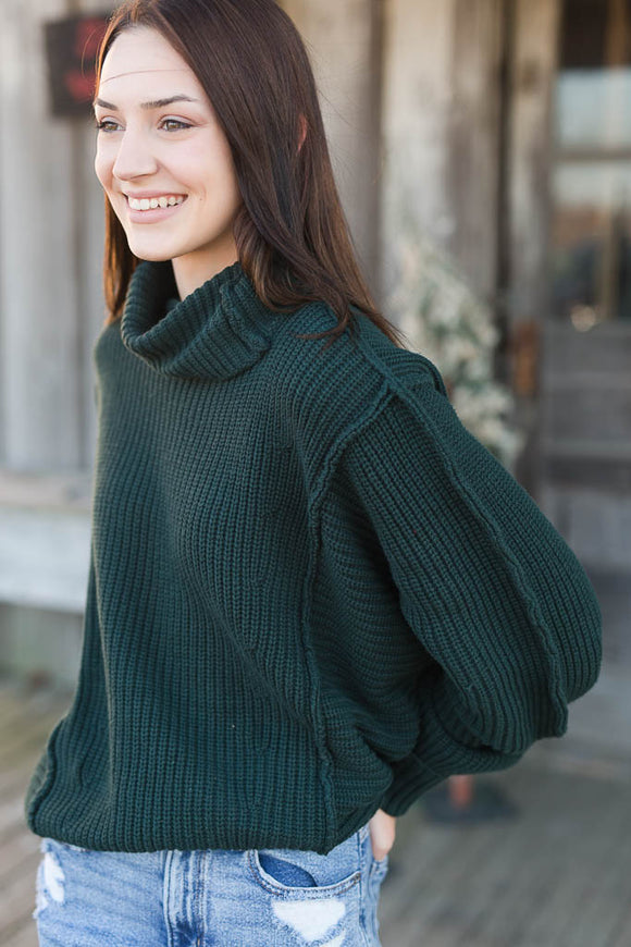 Joyous Turtleneck Sweater - Hunter Green