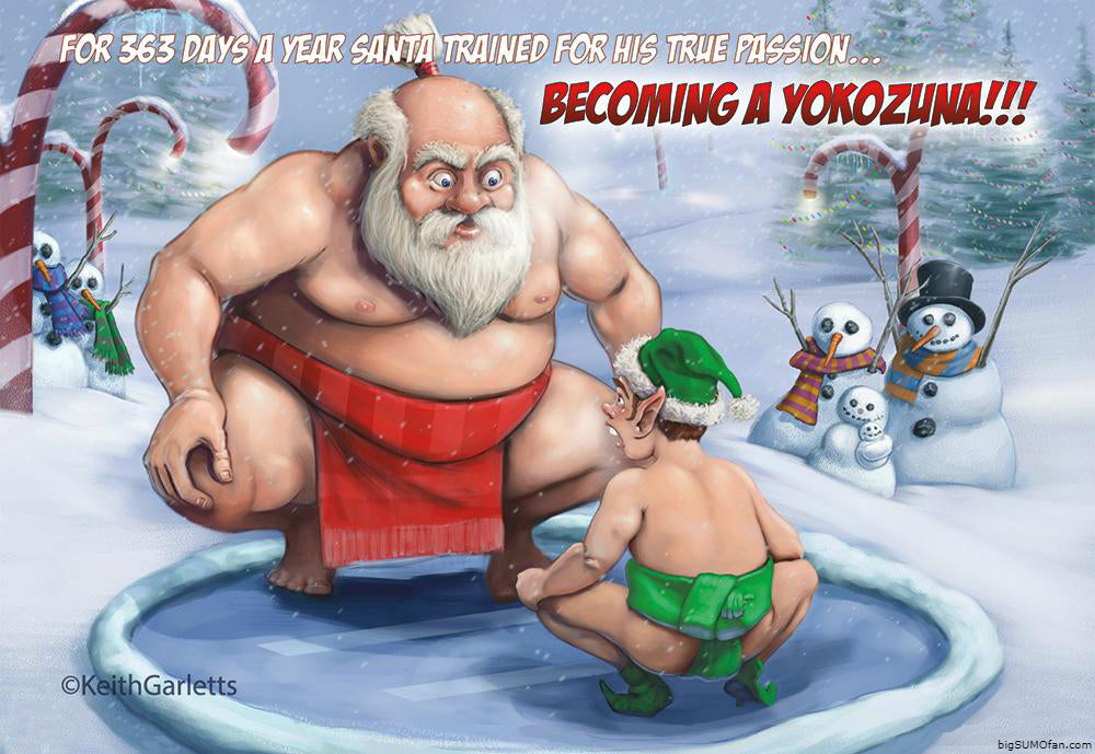 Keith Garletts Sumo Santa Christmas Card Yokozuna elf