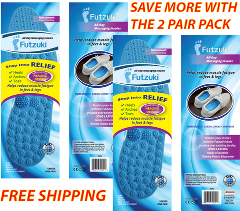 Futzuki Massaging Shoe Insoles 2-Pack