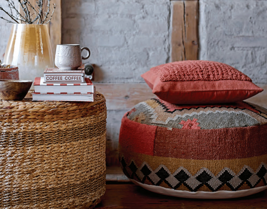 Multicolor Handwoven Cotton Kilim Pouf