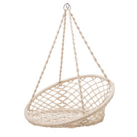 Hanging Handwoven Cotton Macramé Chair with Metal Frame
