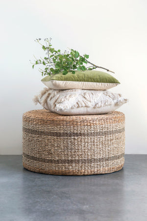 Brown Striped Round Water Hyacinth & Seagrass Ottoman/Table