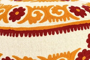"8""H Suzani Embroidered Cotton Pouf"