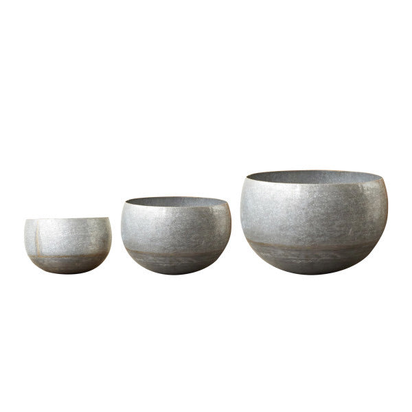 Silver & Gold Galvanized Metal Planters (Set of 3 Sizes)
