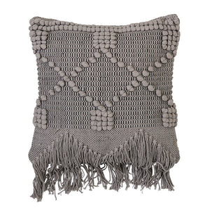 Grey Cotton Pillow with Fringe