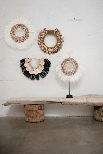 Handmade Feather Wall Décor with Shell Accents