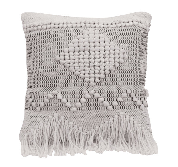 Ivory & Grey Square Textured Cotton Pillow