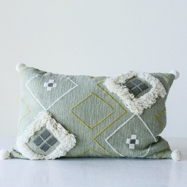 Woven Embroidered Sage Pillow