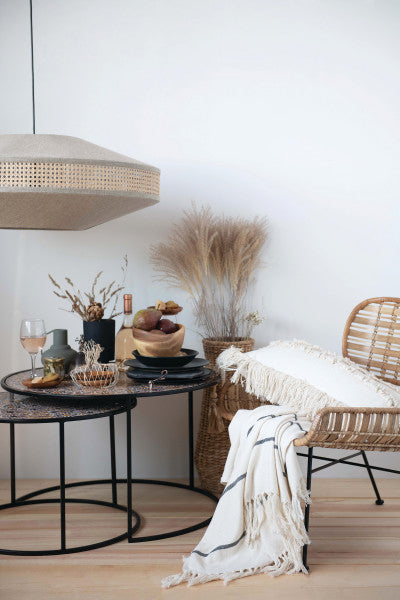 Woven Rattan & Wrought Iron Chair