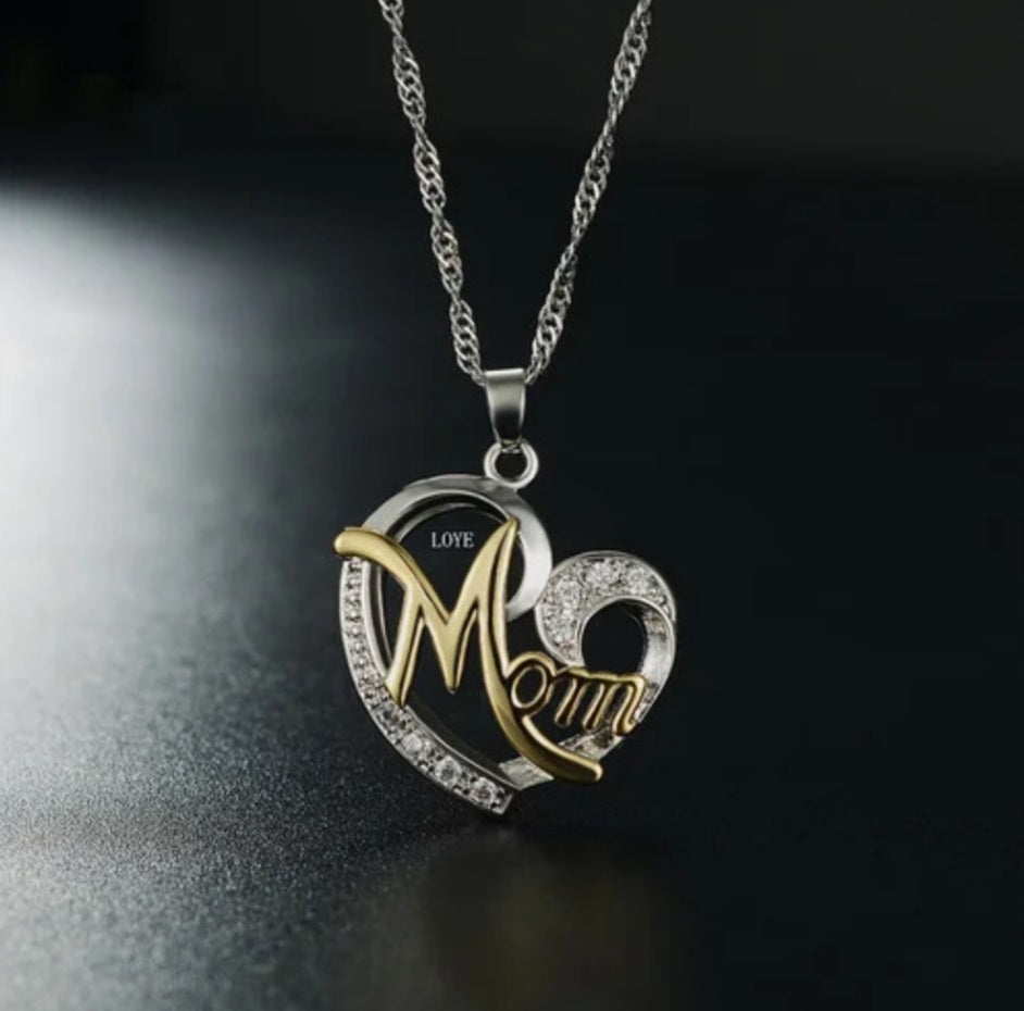 Love My Mom Pendant and Chain - Celi's Secret