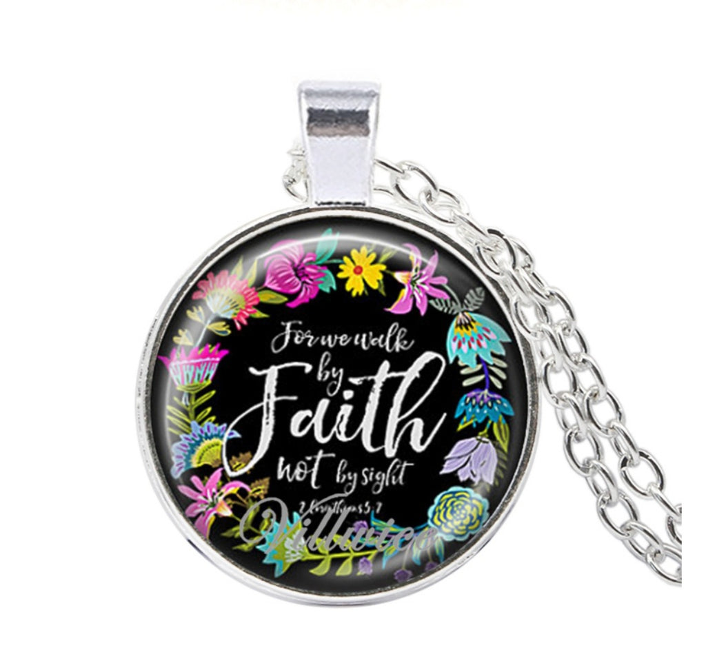 Glass Pendant Necklace with Bible scriptures - Celi's Secret
