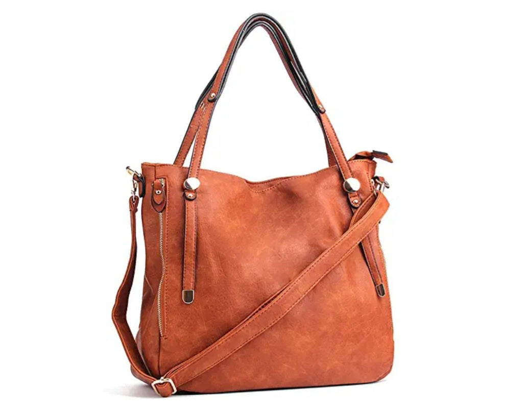 Pu Leather Tote Shoulder Bag and Satchel Zipper Cross Body Bag - Celi's Secret