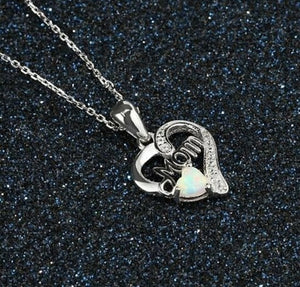 "Sterling Silver ""MOM"" Heart Oval Pendant and Necklace - Celi's Secret"