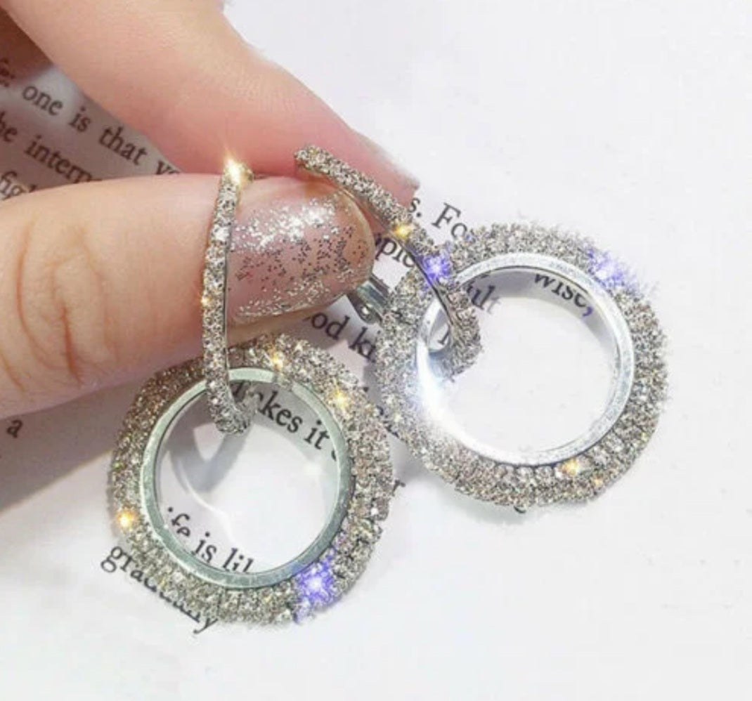 Crystal Rhinestone Round Earrings - Celi's Secret